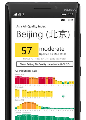 windows mobile lumia 香港 real-time air quality application