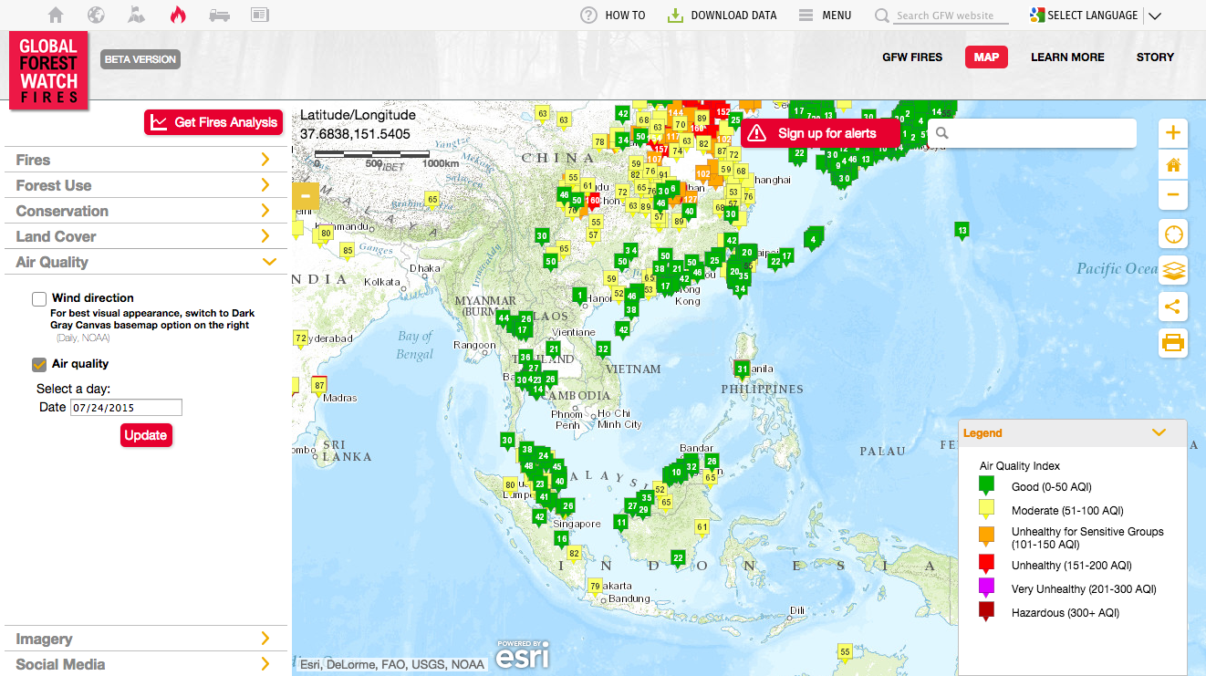 Map Web Service Realtime Air Quality Tile API - Air pollution us map